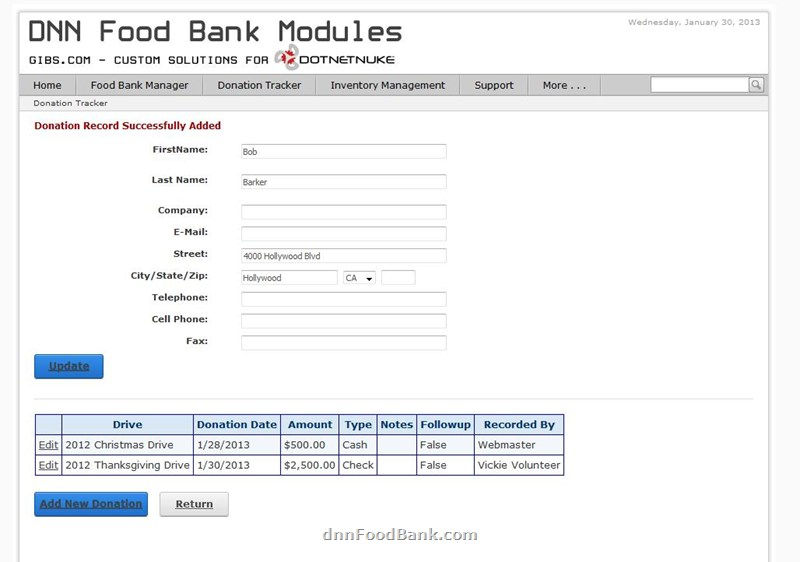 DotNetNuke Donation Tracking Module for Food Banks
